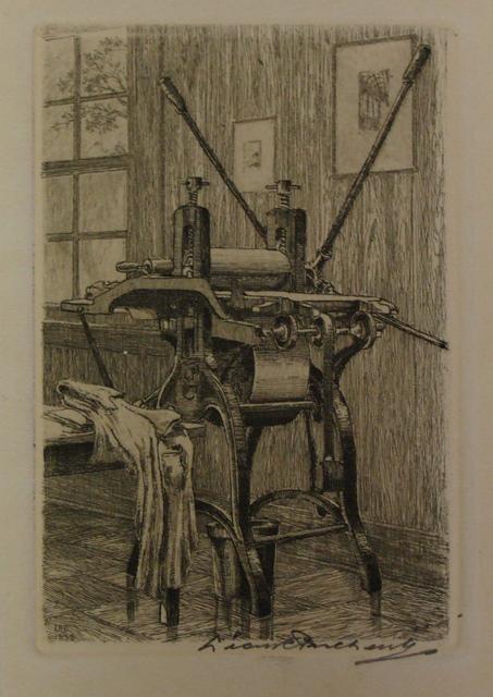 Etching press etching leon pescheret